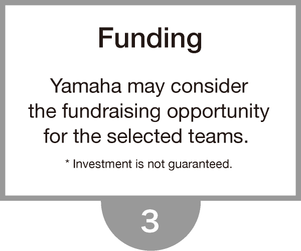 Yamaha may considerthe fundraising opportunityfor the selected teams. * Investment is not guaranteed.