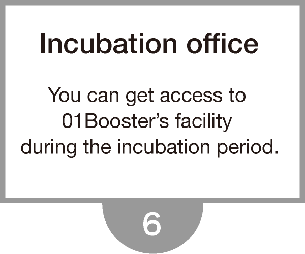 You can get access to 01Booster's facility during the incubation period.